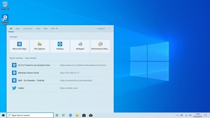 Windows 10 Pro Masaüstü Arama Çubuğu