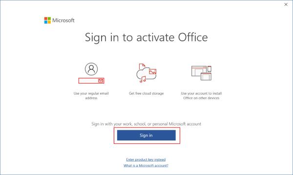 Office 2019 Pro Plus etkinleştirme için oturum açma ekranı