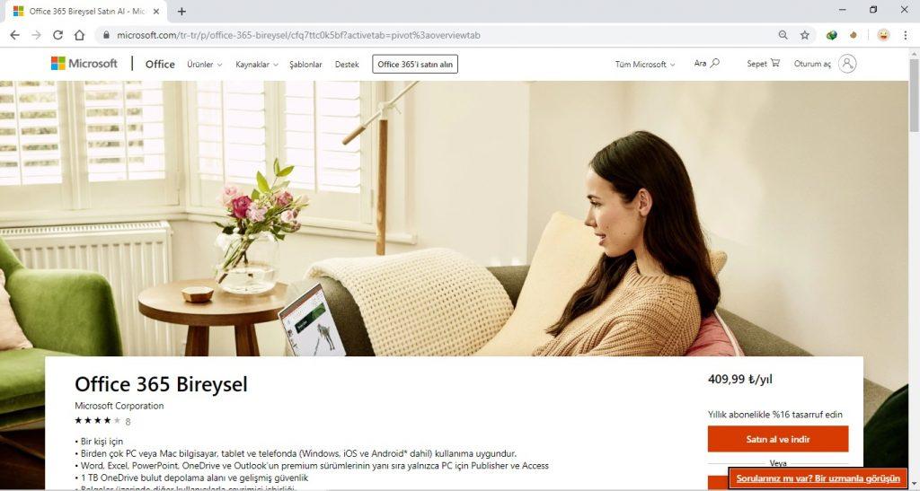 Office 365 Satın Alma için Microsoft Office 365 Satın Alma Sayfası